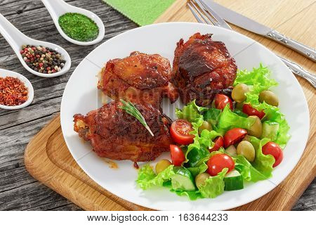 Grilled  Chicken Thighs With Fresh Salad, Close-up