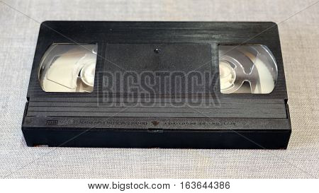 VHS cassette front view from the video tape recorder