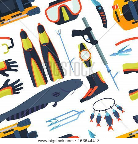 Marine spearfishing symbols with fishing rod. Seamless pattern underwater professional speargun rental competition. Ocean sport equipment vector illustration.