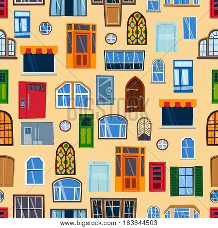 Doors seamless pattern vector illustration. Colorful closed entrance house interior background. Vertical access windows and metal empty construction entry architecture.