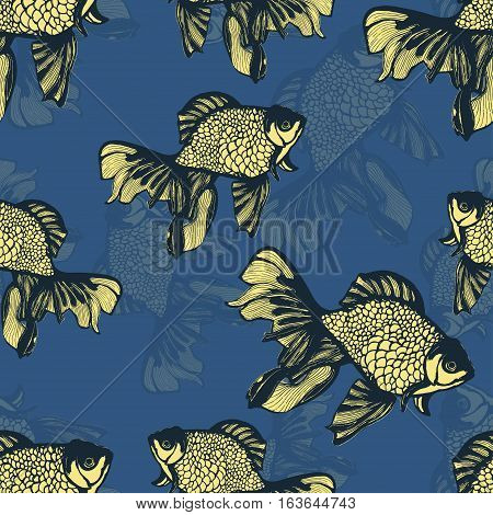 Abstract fish sketch seamless pattern, hand drawing, vector background. Yellow blue fish on a blue background. Decorative handmade element, for wallpaper design, fabric, textiles