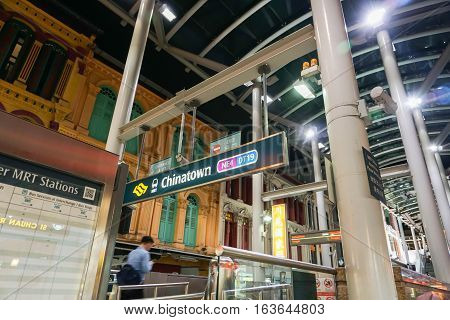 MRT station at China Town at night taken in Singapore on 30 July 2016