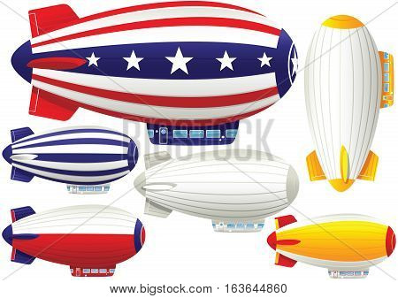 Assorted blimp airships, some with space for your own message.