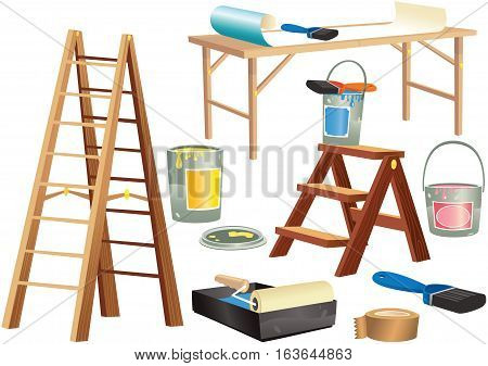 Various home improvement items including wooden steps, paint tins and brushes.