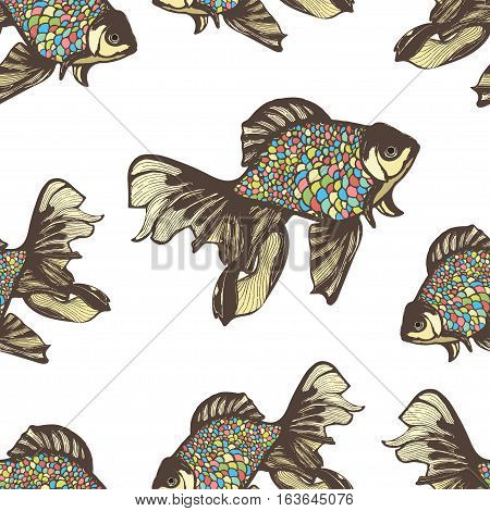 Abstract fish hand drawing seamless pattern, vector background. Decorative fish with motley multicolored scales on a white background. Decorative handmade element, for wallpaper design, fabric