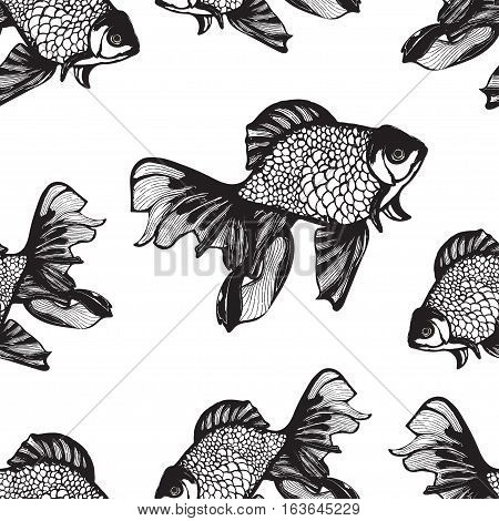 Abstract fish sketch seamless pattern, hand drawing, vector monochrome background, coloring book. Black and white fish on a white background. Decorative handmade element, for wallpaper design, fabric