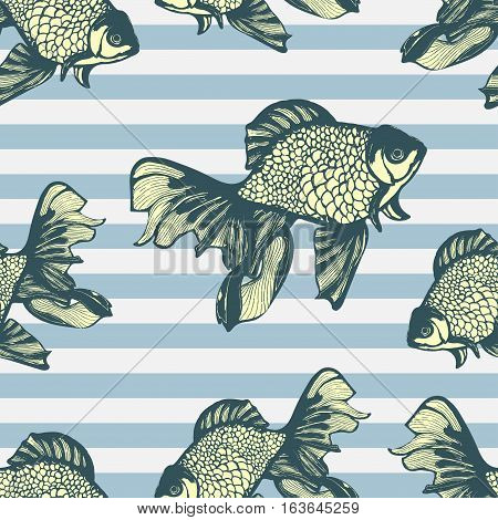 Abstract fish hand drawing seamless pattern, vector background. Decorative fish with motley multicolored scales on the background of blue stripes frock. Decorative handmade element