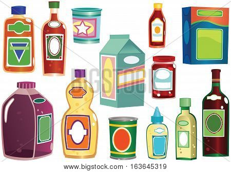 Various bottles, containers and packets you might find in any shop.