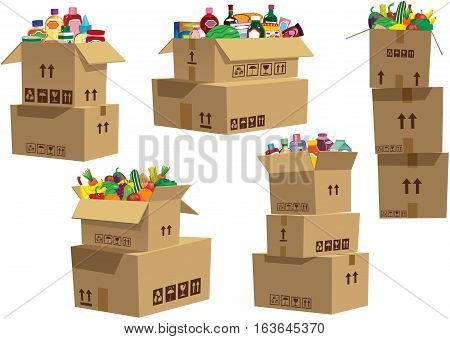Stacks of cardboard boxes with various bottles and containers in them.
