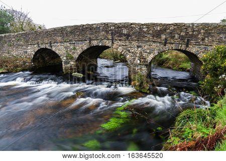 Road Bridge Bridge. Postbridge Dartmoor Devon England United Kingdom.