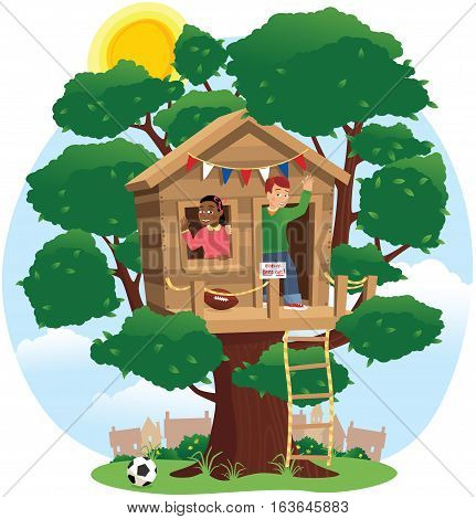 An image of two kids playing about in a tree house.