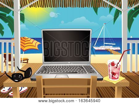 A first person view a laptop computer and beach scene. Plenty of blank screen for your own message.