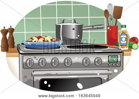 An illustration of a typical cooker hob and oven.