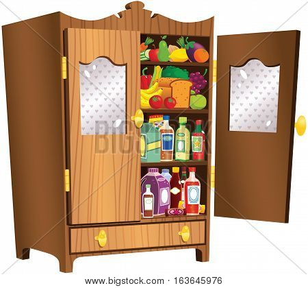An image of a freestanding country style wooden food cupboard.
