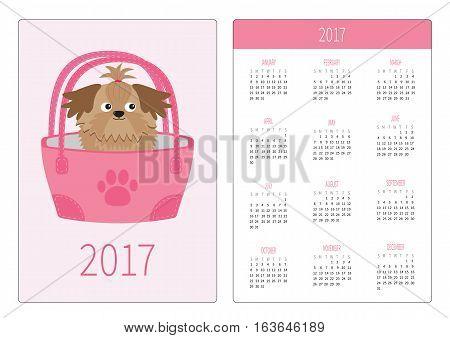 Pocket calendar 2017 year. Week starts Sunday. Flat design Vertical orientation Template. Little glamour tan Shih Tzu dog in the bag. Vector illustration