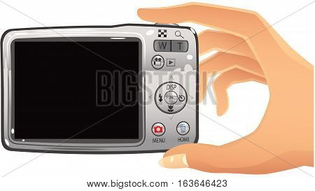 A first person view of a digital camera rear and LCD screen. Screen is blank for your own image.