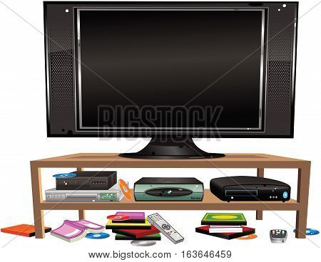 An illustration of some old fashioned home entertainment equipment, including VCR, DVD player and games machine. Screen on TV is blank for your own message.