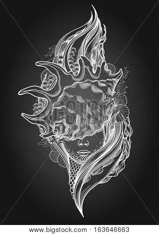 Graphic mermaid head with seashell on her face and seaweed decorations. Tattoo art or t-shirt design. Vector illustration isolated on the chalkboard