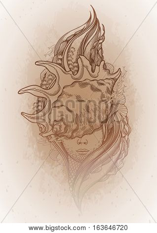 Graphic mermaid head with seashell on her face and seaweed decorations. Tattoo art or t-shirt design. Vector illustration isolated on vintage background