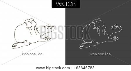 seal walrus icon on white and black background one line for the logo sign symbol