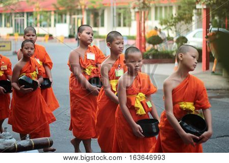 Novice Walk Line To Given Food And Lotus From Buddhist .