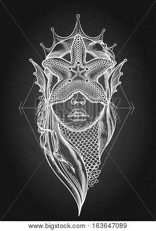 Graphic mermaid head with starfish on her face and seaweed decorations. Tattoo art or t-shirt design. Vector illustration isolated on the chalkboard