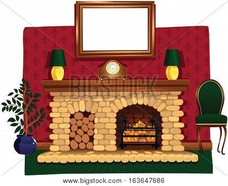 An illustration of a fire hearth and surrounding stone fireplace. A blank picture frame hangs above for your own message.