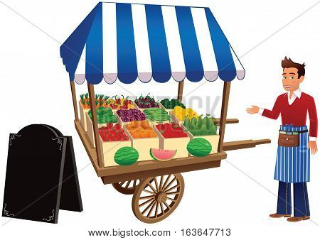 A market trader at a small fruit and vegetable stall, plus blank A-board.