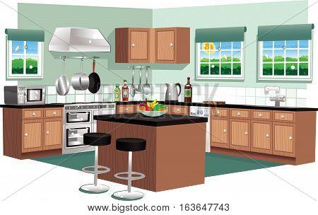 A cutaway illustration of a modern domestic kitchen.