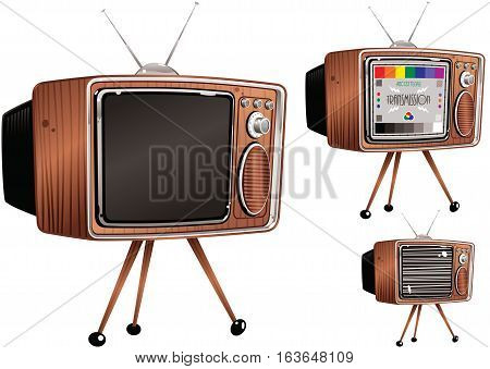 Three different drawings of an old fashioned TV. One blank, one with static and one with a test card.