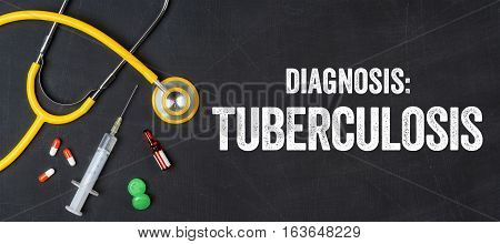 Stethoscope And Pharmaceuticals On A Blackboard - Tuberculosis