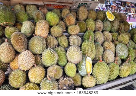 JOHOR BAHRU MALAYSIA - DECEMBER 11 2016 : Durian stall along road side in Johor Bahru. Durian is a seasonal fruit is known as the King of Fruits in the South-East Asian countries