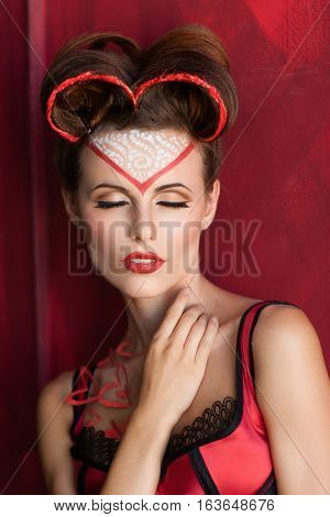 Beautiful sexy woman fondle herself closeup. Portrait of attractive lady in lingerie sensitively touching her neck. Sex, love, temptation, mistress, satisfaction concept poster