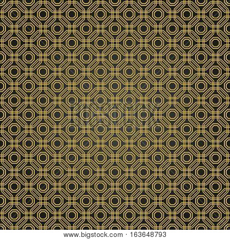 Geometric fine abstract vector octagonal background. Geometric abstract ornament. Seamless modern black and golden pattern