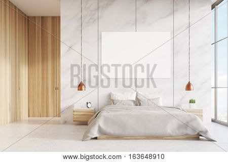 Front View Of Bedroom: Double Bed, Poster