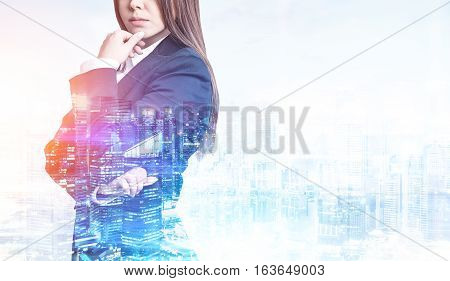 Businesswoman In Suit And A City, Toned