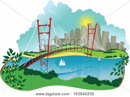 An image of a suspension bridge across a river with a large city in the background.