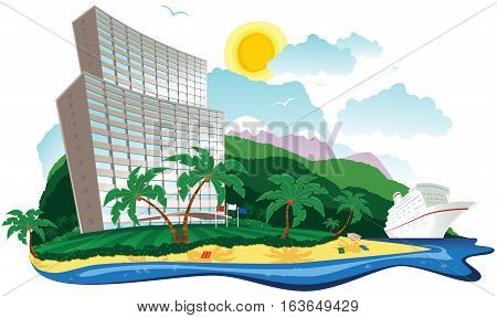 An illustration of a large hotel by the sea on a tropical island.