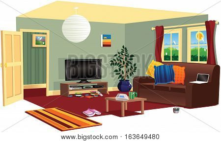 A cutaway illustration of a typical living room.