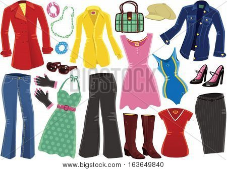 An image of various female clothing items including overcoat, leather boots and swimming costume.