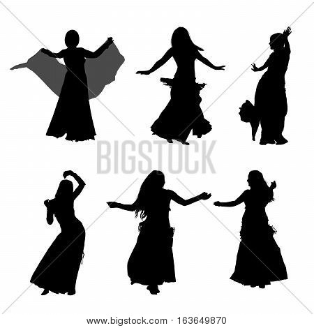 Silhouette of the girl. Oriental belly dance. Arabic dance.