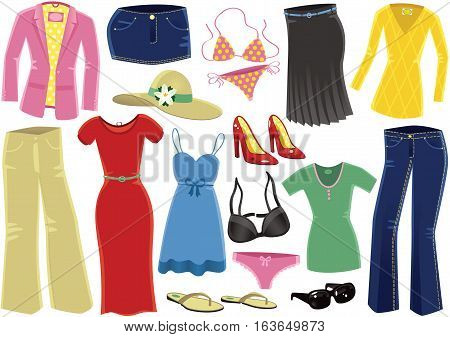 Various female clothing items including dress, high heels and jeans.