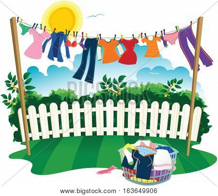 An illustration of a washing line full of drying clothes.