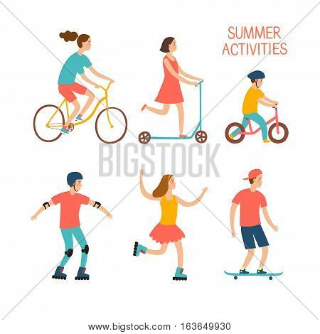 Summer activities cartoon set. Active children riding and playing outdoor.Characters illustration for your design.