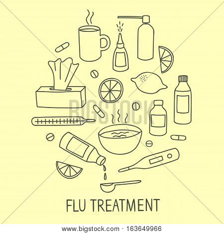 Flu and cold treatment doodle elements set. Including pills syrups food. Hand drawn healtcare elements for your design.