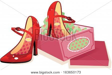 A pair of red leather high heeled women's shoes and their box.