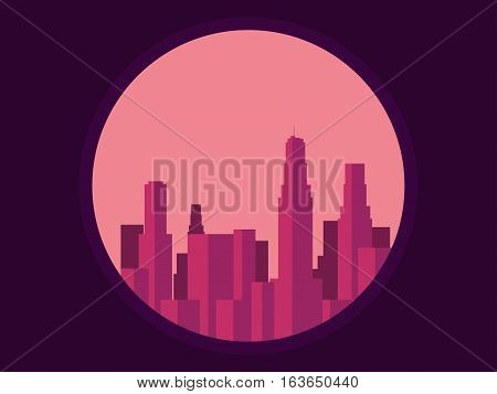 Panorama Of City With Skyscrapers. Megalopolis In Retro Style. Vector Illustration.
