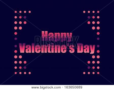 Happy Valentine's Day in 80's retro style. Text in the futuristic style neon. Vector illustration.