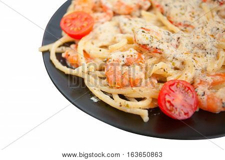 Delicious Spaghetti Pasta With Prawns On Black Plate