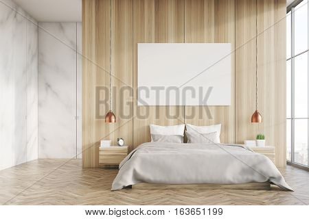 Light Wood And Marble Bedroom With Poster